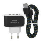 Cwxuan Smart Quick Charging 3-Port USB Power Adapter + Braided Micro USB Cable - Black
