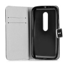 Flip Open PU Case w/ Card Slots / Stand for MOTO G3 - Black + White