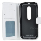 Mini Smile PU Case w/ Stand & Card Slots for Motorola MOTO G3 - White
