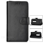 Mini Smile PU Case w/ Stand & Card Slots for Motorola MOTO G3 - Black