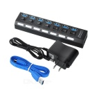 7-Port USB 3.0 hub w / switches / US adaptador de corriente de enchufe - negro