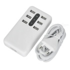 5V 8.4A 6-Port USB Smart Charger w/ Indicator Light - White (EU Plug)