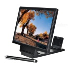 Folding 3D Screen Magnifying Magnifier w/ Stand + Touch Pen for Smartphones - Black