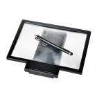 Folding 3D Screen Magnifier w/ Stand + Touch Pen for Phones - Black