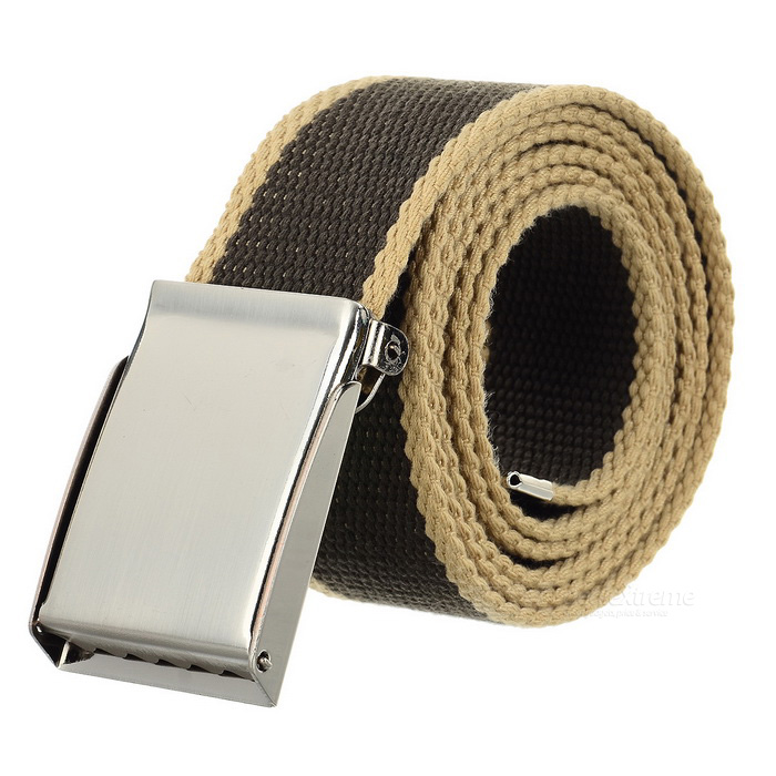 Unisex Canvas Belt w/ Simple Press Buckle - Khaki + SilverBelts and Buckles<br>Form ColorKhaki + SilverQuantity1 DX.PCM.Model.AttributeModel.UnitShade Of ColorBrownMaterialCanvasGenderUnisexSuitable forAdultsBelt Length125 DX.PCM.Model.AttributeModel.UnitBelt Width3.8 DX.PCM.Model.AttributeModel.UnitPacking List1 x Belt<br>
