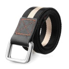 Men's Stylish Canvas Belt w/ Dual Ring Buckle - Black + Khaki