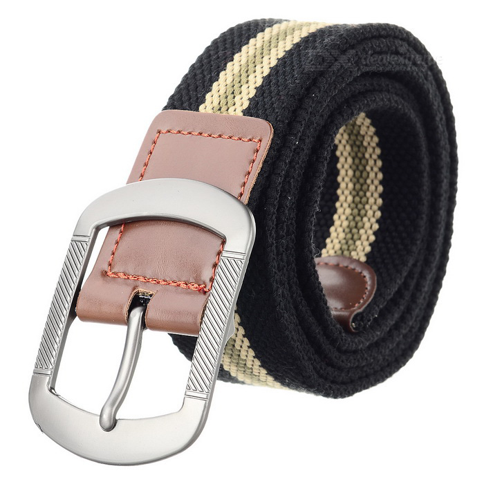 Casual Canvas Belt w/ Pin Buckle - Black + Khaki(SKU 405477)