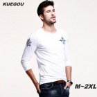 KUEGOU Men's Printing Long-sleeved Round Collar T-shirt - White (M)