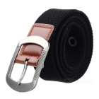 Unisex Casual Canvas Belt w/ Pin Buckle - Black
