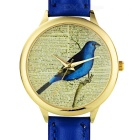 Golden Case Analog Quartz Watch w/ Bird Pattern & PU Leather Band for Women - Blue (1 x 377)