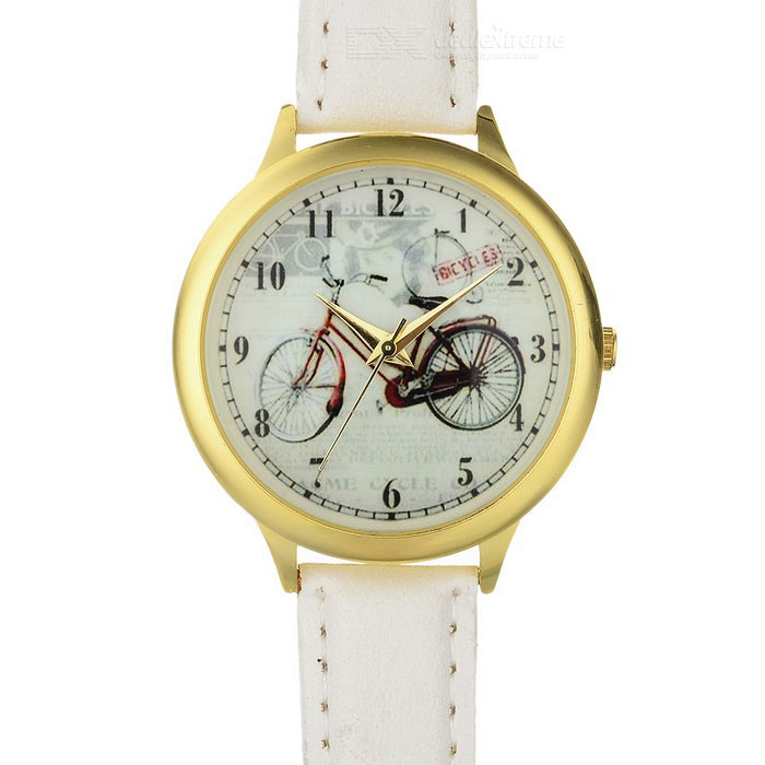 Bike Pattern Women 's PU Band Round Dial Wrist Watch - White (1*377)