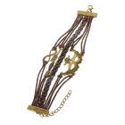Mask Decorated Braided Cow Split Leather Bracelet - Brown