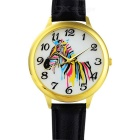 Female PU Leather Band Round Dial Zebra Style Quartz Wrist Watch - Black (1 x 377)