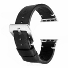 Retro Italian Leather Watchband w/ Attachments for 42mm Apple Watch - Black