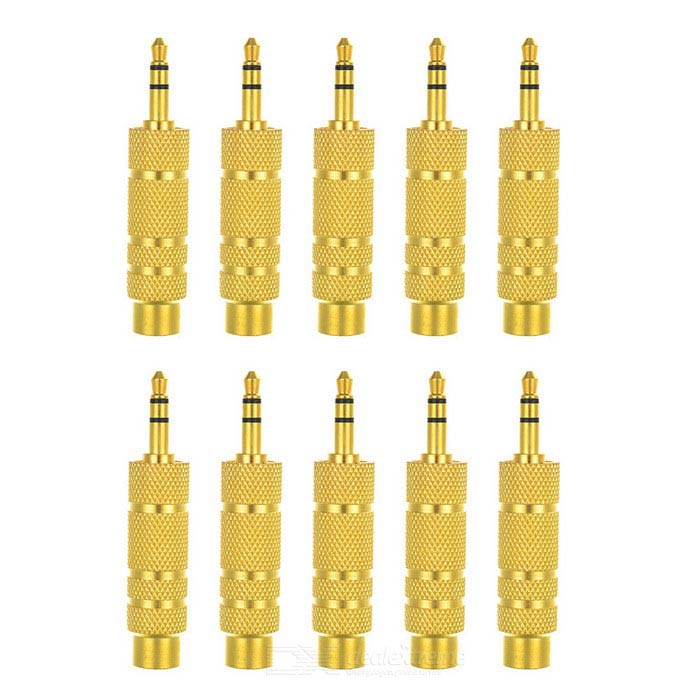 3.5mm to 6.35mm M-F Adapters for Electronic Organ - Golden (10 PCS)