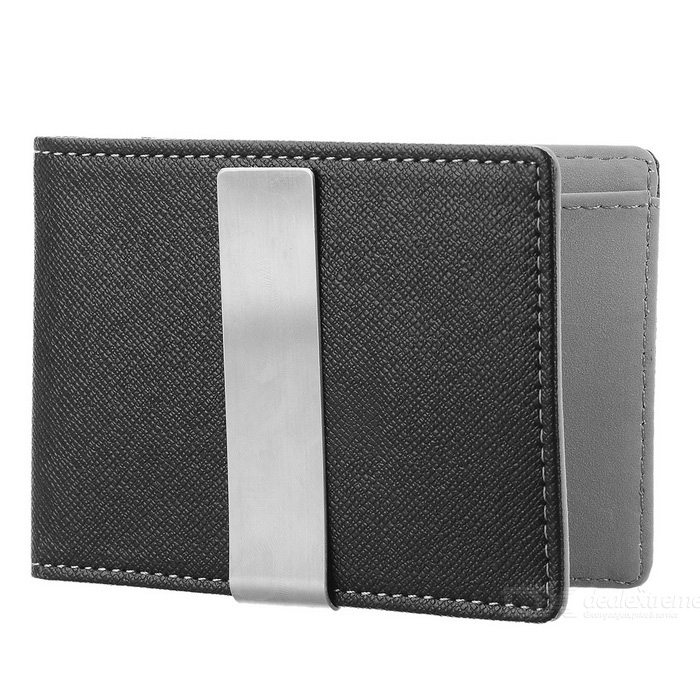PU Leather Wallet Purse w/ Stainless Steel Money Clip - Black + GreyWallets and Purses<br>Form ColorBlack + GreyQuantity1 DX.PCM.Model.AttributeModel.UnitShade Of ColorBlackMaterialPU leatherGenderUnisexSuitable forOthers,Adults, children, couplesOpeningOthers,Horizontal, squareStyleCasualWallet Dimensions11 x 7.8 x 0.9cmFold DimensionsFolded in halfOther FeaturesIncludes 1 large compartment, 3 card slots, 1 secret compartment and 1 clip; Fashionable design.Packing List1 x Wallet<br>