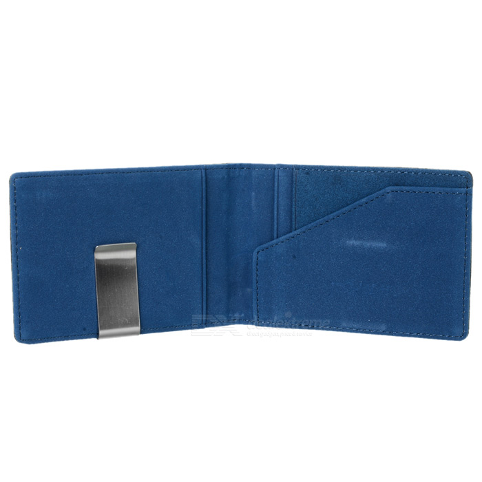 PU Leather Wallet Purse w/ Stainless Steel Money Clip - Black + Blue