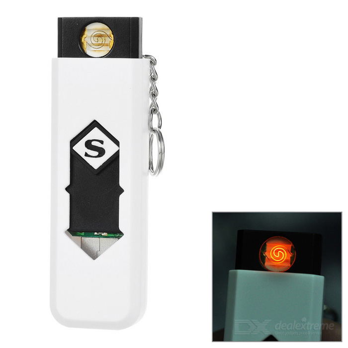 Rechargeable Cigarette Lighter w/ Money Detecting Function - White
