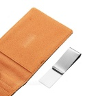 PU Leather Wallet Purse w/ Stainless Steel Money Clip - Black + Coffee