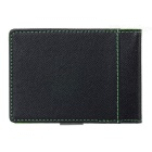 PU Leather Wallet Purse w/ Stainless Steel Money Clip - Black + Green