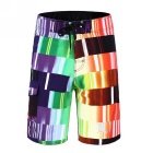 Men's Color Lattice printed beach shorts + Quick-Drying Boardshorts - Purple - 32