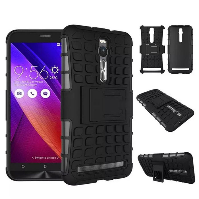 Rugged Armor Hybrid Case for Asus ZenFone 2 ZE551ML ZE550ML - Black