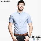 KUEGOU Men's Cotton Short Sleeve Shirt - Blue (Size M)