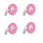 USB 2.0 Male to Micro USB Male Charging Data Flat Cable - Pink (4 PCS / 110cm)