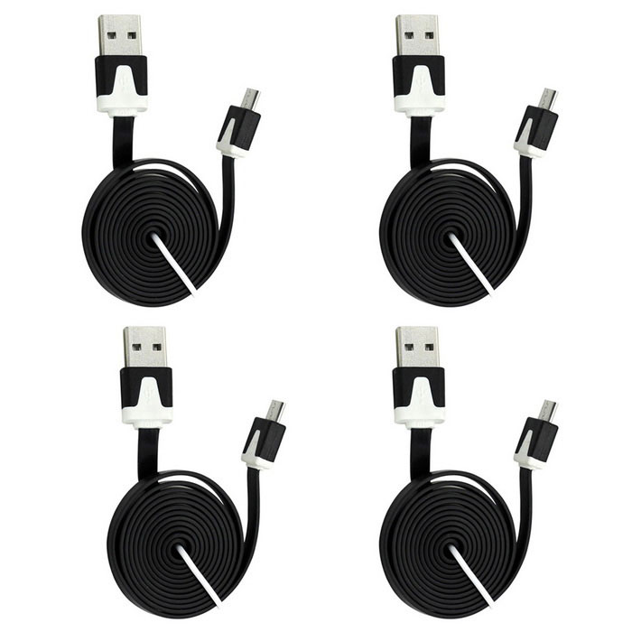 USB 2.0 M to Micro USB M Flat Charging Cable - Black (4PCS / 98cm)
