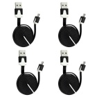 USB 2.0 Male to Micro USB Male Charging Data Flat Cable - Black (4 PCS / 98cm)