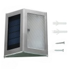 Mini Bright 0.12W White LED Solar Powered Stair Lamp - Black + Silver