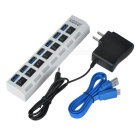 7-Port USB 3.0 Hub w/ Switches / US Plugss Power Adapter - White
