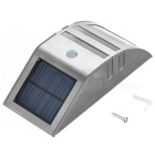 Solar Powered Waterproof SMD LED PIR Motion Sensor Wall Lamp - Silver
