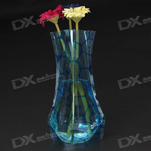 Foldable Recyclable Durable Plastic Flower Vase - Watermark (Color Assorted)