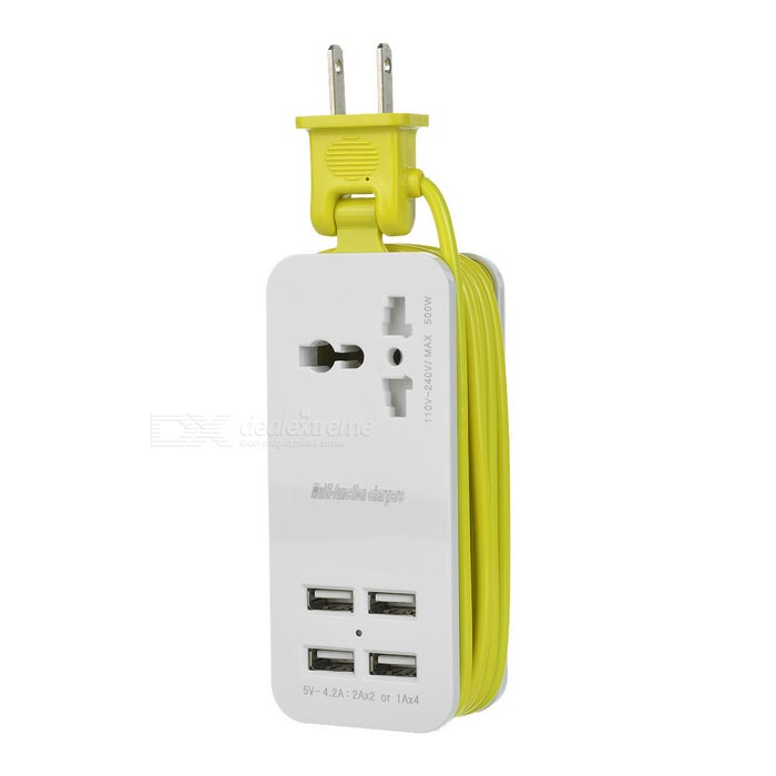 US Pluggen 4-USB 2.0 + Universele Socket Power Charger - Wit + Geel