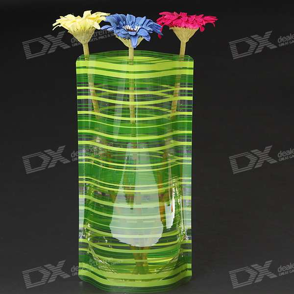 Foldable Recyclable Durable Plastic Flower Vase - Stripes (Color Assorted)
