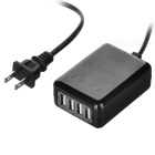 5V 2.5A 4-Port USB 2.0 Charger for IPHONE 6 / Samsung / Xiaomi / HTC / Tablet PC - Black