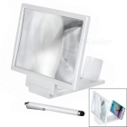 Folding 3D Screen Magnifying Magnifier w/ Stand + Touch Pen for Smartphones - White