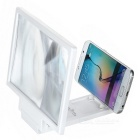 Folding 3D Screen Magnifier w/ Stand + Touch Pen for Phones - White