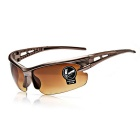 ROBESBON Cycling Explosion-proof Zinc Alloy Lens High Elastic PC Resin Frames Glasses - Brown + Tan
