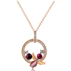 Stylish Women's Circular Wreath Crystal Pendant Necklace - Rose Golden
