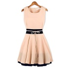 Women's Contrast Color Sleeveless Skater Dress - Pink (S)