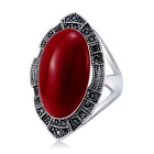 Retro Crystals Inlaid Imitation Ruby Ring - Silver (US Size 8)