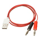 DIY USB 2.0 Male to 4.0 Banana Plug Test Cable - Black + Red + White (80cm)