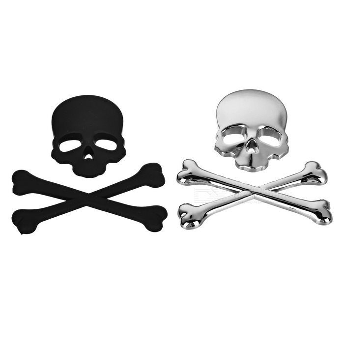Cool Skull Style ABS Car Exterior Stickers - Black + Silver (2PCS)