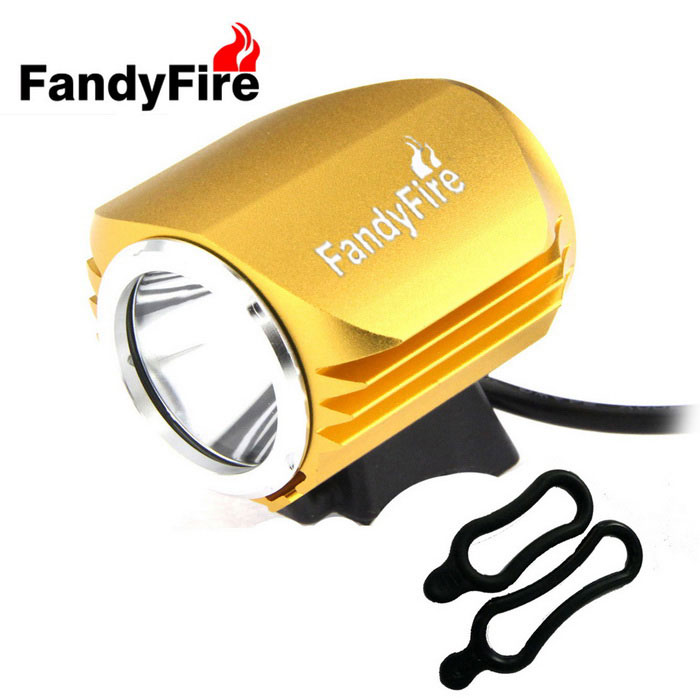 FandyFire Outdoor T6 3-Mode Cold White LED Headlight for Bike - Gold