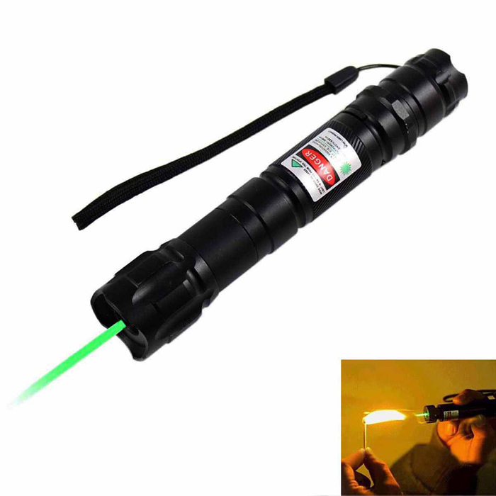 KF-602 532nm Green Light Laser Pointer w/ Clip - Black