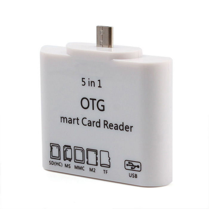 5-in-1 Smart OTG Card Reader for Samsung Phone & Tablet PC - White