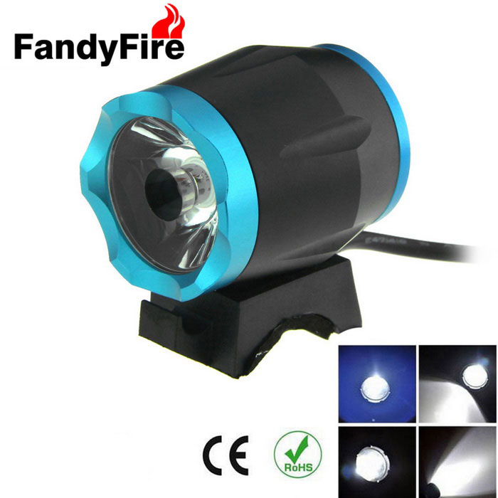 FandyFire XM-L T6 8-Mode Cold White 900lm Bike Headlamp - Black + Blue
