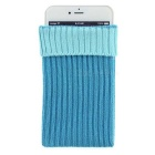 Protective Expandable Soft Wool Knit Socks Pouch Case Cover for IPHONE / Samsung & More - Blue